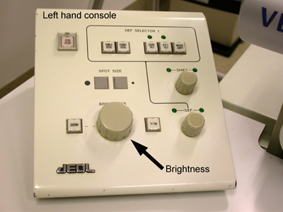 A JEM-1010 TEM left hand console