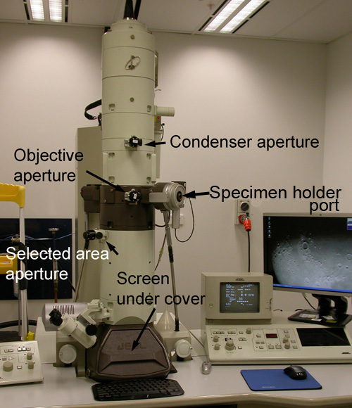 The column of a JEM-1010 TEM with labelled parts.